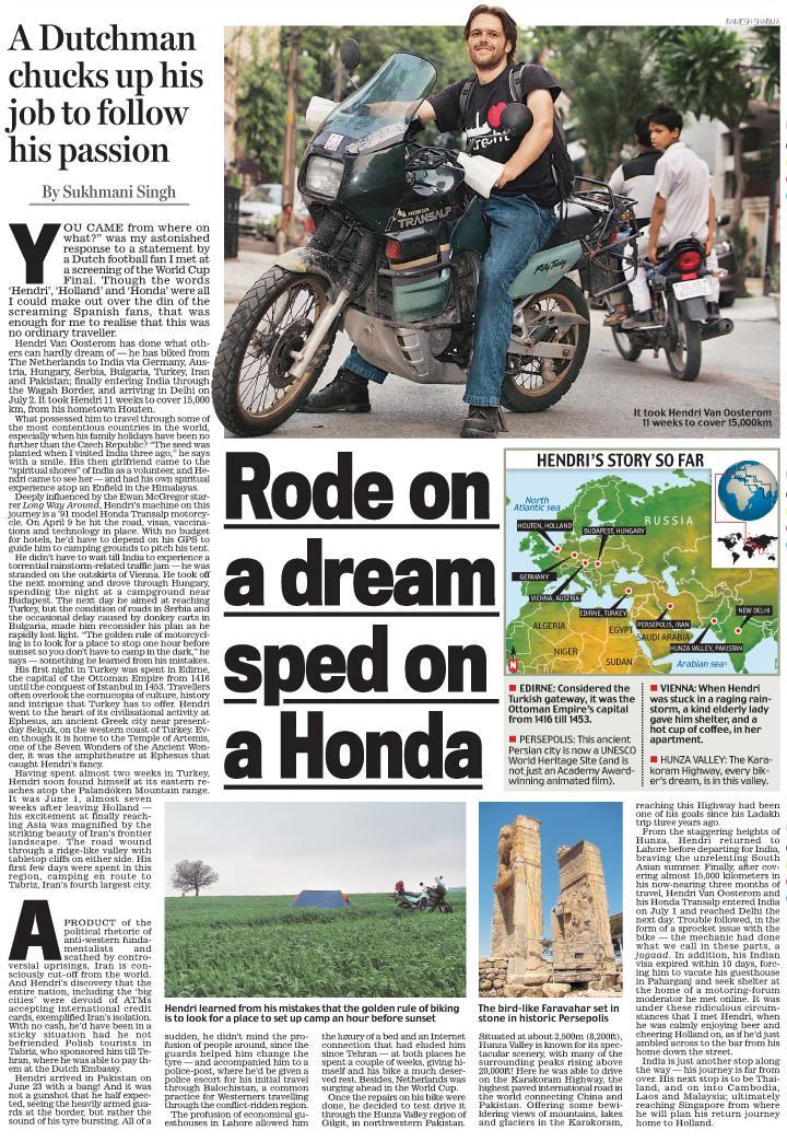 Artikel over Hendri in een indiase krant